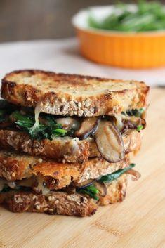 Mushroom Melt | Frugal Nutrition Lunch Recipes, Vegan Breakfast Recipes, Delicious Vegan Recipes, Whole Grain Bread, Sauteed Mushrooms, Bowl Of Soup, Soy Sauce, Frugal, Mozzarella