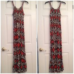 """Tribal print maxi dress size small *NO TRADES* 100% rayon. Hand wash/hang dry, however I've put it into both the washing machine/dryer. It's a S but can fit a M, maybe a L but the bust will be snug. I'm 5'2"""" and this fits almost perfectly. Drags just a smidgen but I don't always step on it. It's 43"""" from the bust line. There's a mermaid style bottom. Entire dress is stretchy. I've had this dress for years and it was a favorite so there's fading. But there's no rips, holes or stains. Forever…"""