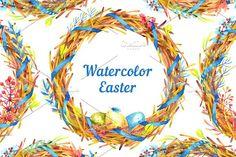 Watercolor Easter Wreaths by Evgeniia Zagreeva on @creativemarket