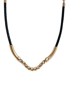 Mango Leather & Gold Chain Bar Necklace