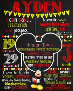 Mickey Mouse Birthday Chalkboard Poster by VickiTsCreations