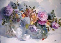 Geoffrey Wynne Acuarelas - Watercolours: ROSAS - ROSES