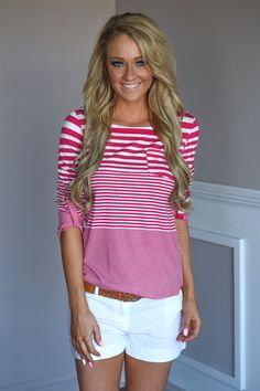 415f8d9580 Fav 3 4 Sleeve Top ~ Pink