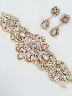 Mint Opal Bridal Belt-Vintage Wedding-One of a Kind by KNRHANDMADE