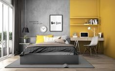 Yellow Kids' Rooms: How To Use & Combine Bright Decor Yellow is a colour that creates wow in an interior. It also adds sunny visual warmth and evokes feelings of spring-summertime happiness. This high energy effect Bedroom Wall Designs, Home Decor Bedroom, Modern Bedroom, Trendy Bedroom, Grey Bedrooms, Study Room Design, Kids Room Design, Study Space, Yellow Kids Rooms