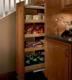 Storage Solutions Details - Tall Pantry Pull-out - KraftMaid Kraftmaid Kitchen Cabinets, Bathroom Cabinetry, Cupboards, Pull Out Kitchen Cabinet, Kitchen Cabinet Colors, Pull Out Pantry, Hidden Pantry, Small Cabinet, Deep Drawer Organization