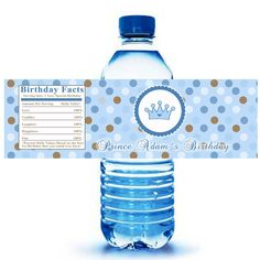 Printable Personalized Prince Water Bottle Labels Wrappers - Birthday Party Baby Shower Blue Boy Custom Polka Dots Wraps