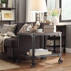 Nelson Rectangle Industrial Modern Rustic End Table | Overstock.com Shopping - Great Deals on Coffee, Sofa & End Tables