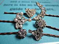 custom set of vintage jewelry bobby pins--by TheArtSwallow