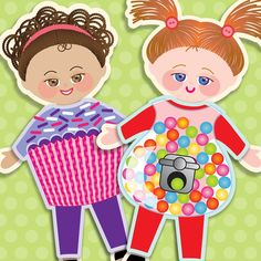 Nancy Archer, Art, DIY Free Printables, Kid Crafts, Party Decor, Notecards, DIY Journals, Felt Toys: Maddalee and Jessa Paper Dolls with Halloween costumes, free for subrscibers until Halloween!