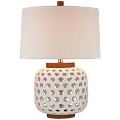 Dimond White Woven Ceramic Table Lamp