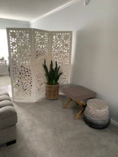 Featuring intricate floral medallion motif inspired by gardens in Bangalore, our Zaria screen is hand carved by artisans in India. Panel Room Divider, Decorative Screens, Room Screen, Whitewash, Hand Carved, Carving, Bedroom, Wood, Floral