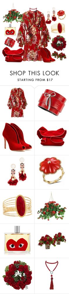 """Geraniums"" by yournightnurse ❤ liked on Polyvore featuring Gucci, Gianvito Rossi, Nina Ricci, Tory Burch, James Ganh, Flint & Mortar, Nearly Natural, Comme des Garçons and Marina J."