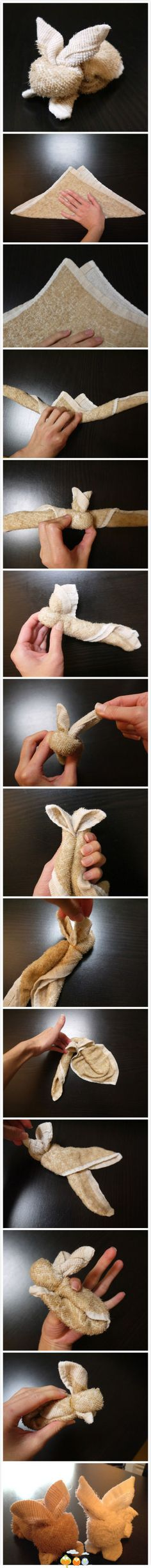 A few folds and a couple of tucks = bunny