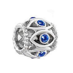 Silver Birthstone Blue Crystal Filigree Evil Eye Charm Bracelet Pugster.com