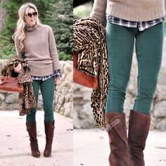 9 Cozy Chic Ways to Wear Skinny Cords this Winter - could wear green ones with my brown suede boots