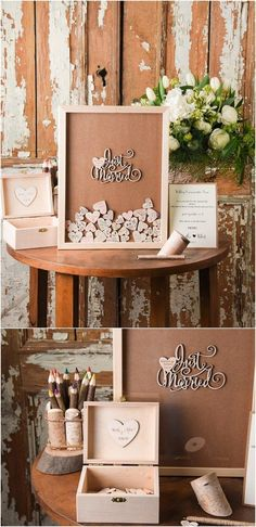 Rustic Laser Cut Wood Wedding Guest Book- Just Married / http://www.deerpearlflowers.com/rustic-wedding-guest-books-botanical-wedding-invitations/