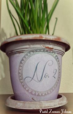 Mod Podge Flower Pot, French Styled Pot, inexpensive planter, diy / Transfer Çalışması ve Saksı Boyama, Kendin Yap