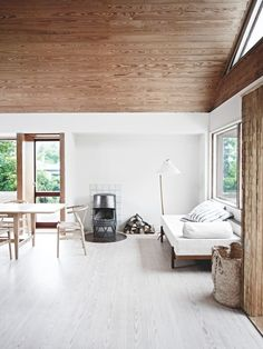 warm wood and white