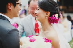 Linda Tang, 31, and Lim Han, 34, celebrated their nuptials with a merry two-day affair.   #alkaffmansion #ceremony #outdoor #bright #flowers #floral #setup #settings #decor #weddings
