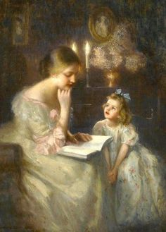 Finding joy in the everyday: Art Friday: Mothers reading to their children