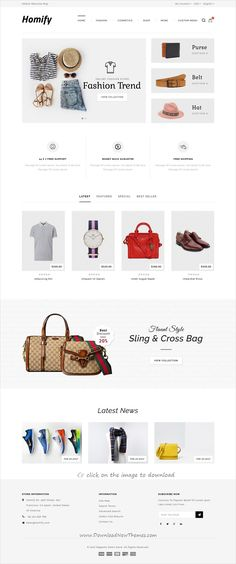 Homify is clean and modern design responsive #Magento 1 & 2 theme for stunning #fashion store #eCommerce website with 6 niche homepage layouts to download 👉click on image. Ecommerce Web Design, Ui Ux Design, Layout Design, Graphic Design, Site Inspiration, Fashion Web Design, Site Vitrine, Cosmetic Shop, Wordpress