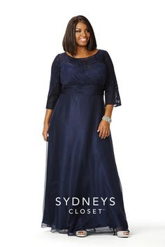 Stunning plus size chiffon formal gown featuring sheer lace 3/4 length sleeves, pleated bodice and flowing A-line skirt.