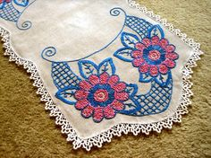 Embroidered RUNNER hand made Table scarf