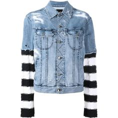 Loha Vete striped detail denim jacket ($703) ❤ liked on Polyvore featuring outerwear, jackets, blue, denim jacket, jean jacket, blue jean jacket, blue denim jacket and blue jackets