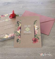 """Invitación de boda """"Sabor Tropical"""" Debut Invitation, Wedding Invitation Cards, Invitation Design, Wedding Stationery, Wedding Cards, Diy Wedding, Party Invitations, Wedding Gifts, Envelope Design"""