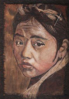 Jeune écolière Tibétaine Tableau de Sable - 70x100 - Peinture,  70x100x1 cm ©2013 par David Cadran - #sandart #tableaudesable #sand #sandartist