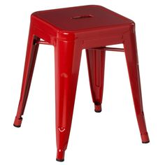 Cubic Square Stool, Metal, Red Powder Coated