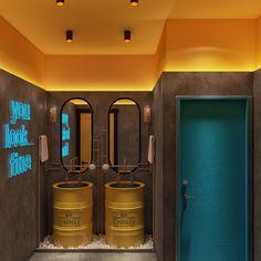 Mc Roher Design Studio on Behance Cafe Shop Design, Coffee Shop Interior Design, Bathroom Interior Design, Store Design, Small Restaurant Design, Restaurant Interior Design, Cafe Interior, Gym Design, Design Studio