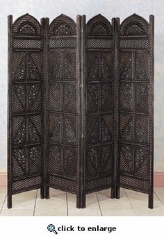 NOT LISTED RIGHT NOW Four Panel Screen Room Divider Wood carved 72H