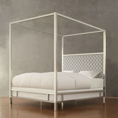 Queen size Contemporary Canopy Bed with Gray White Upholstered Headboard - Quality House & 46 best Canopy Beds images on Pinterest | Twin canopy bed Bed ...