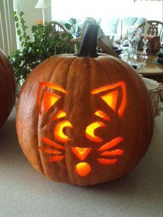 Cat pumpkin carving.