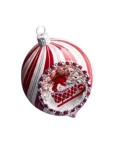 Patricia Breen Pirouette Reflector Santa & Sleigh Christmas Ball Ornament
