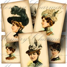 Victorian Ladies Hats Digital Collage by CharmedMemoryCollage #vintage #digitalcollage #etsy