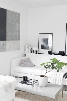 A gray and white color palette works just as well as classic white and black.   - HarpersBAZAAR.com