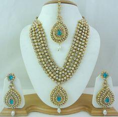 Bollywood Pearl Firozi Cz Rani Haar Gold Tone Necklace Bridal Jewelry Set 4 Pcs