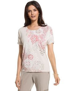 Chico's Women's Zenergy Violet Floral-Print Relaxed Tee
