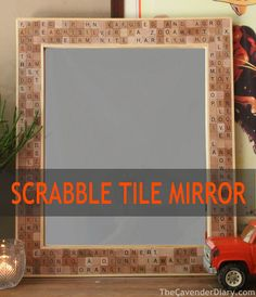 This scrabble tile pieces framed mirror craft project is a great way to repurpose incomplete board games. Yard sales are a frugal way to find board games Scrabble Tile Crafts, Scrabble Art, Mirror Crafts, Diy Mirror, Easy Projects, Craft Projects, Craft Ideas, Decor Ideas, Project Ideas