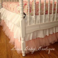 3 Tiered Tulle Crib Skirt, Ruffled Crib Skirt. Love the tool at the bottom!!!