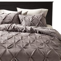 Threshold™ Pinched Pleat Comforter Set  Target - for master bed, with purple sheets & dark slate walls