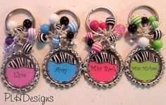Personalized  Beaded Bottle Cap Key Chain Available by PLHDesigns, $8.00