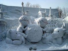 Amazing Snow Sculpture - The Quebec Winter Carnival , Nice n Funny Snow Sculptures, Art Sculpture, Quebec Winter Carnival, Ice Art, Snow Art, Snow And Ice, All Nature, Winter Art, Oeuvre D'art