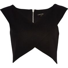 River Island Womens Black wrap crop top from River Island Clothing. Shop more products from River Island Clothing on Wanelo. Crop Top Formal, Island Shirts, Wrap Front Top, Rock Shirts, Wrap Shirt, River Island, Black Crop Tops, Cropped Tops, Summer Tops