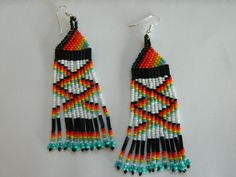 "NEW Native American ""Fire Water"" Beaded Earrings. $25.00, via Etsy."