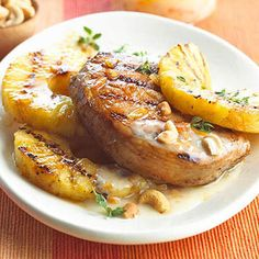 Grilled Pork and Pineapple. Good. Grill pork chops for 4 minutes on each side on med heat using stovetop.