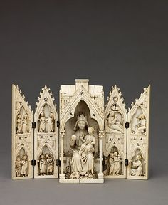 Tabernacle Polyptych with the Madonna and Child and Scenes from the Life of Christ - Northern France - c. Madonna Und Kind, Madonna And Child, Romanesque Art, Life Of Christ, Historical Art, Medieval Art, Gothic Art, Sacred Art, Cristiano